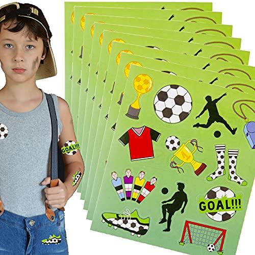 112 Sticker * FUSSBALL * als Mitgebsel, Geschenk oder zum Basteln | Soccer Aufkleber zum Kindergeburtstag und Mottoparty | plus Stickerbuch