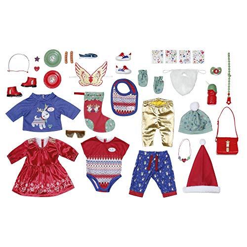 Zapf Creation 828472 BABY born Adventskalender mit 24 Kleidungs- und Accessoire-Überraschungen für BABY born, Puppenzubehör 43 cm