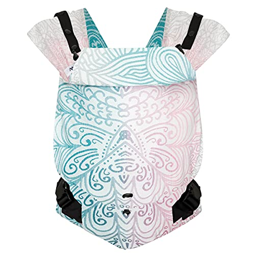 Hoppediz Primeo Full-Buckle Babytrage ✓ ab Geburt ✓ Bauchtrage ✓ Rückentrage ✓ verstellbarer Steg ✓ 100% Bio-Baumwolle | Design Jaipur creme