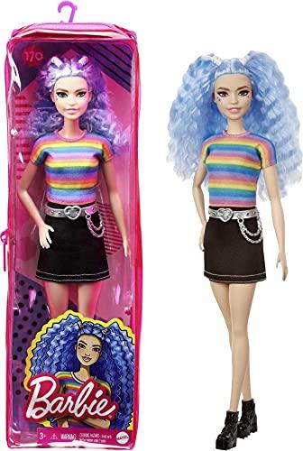 Barbie GRB61 - Fashionistas Puppe (blaue Haare) mit Zubehör, im Outfit mit Regenbogen-Shirt und Schuhen, für Kinder von 3 bis 8 Jahren
