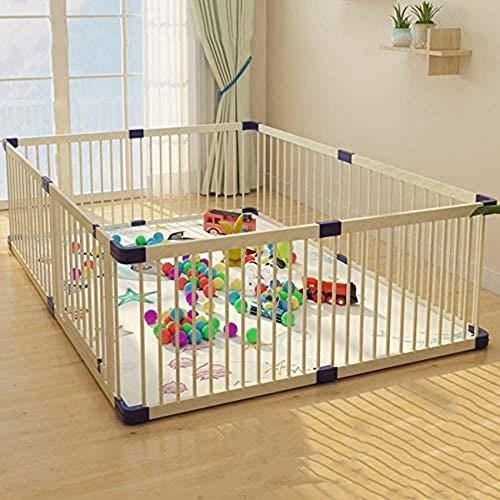 CCLLA Holzlaufstall für Babys und Kleinkinder, Baby-Krabbel-Sicherheitsschutz für Kleinkinder im Innen- und Außenbereich, Spielstift für Babys mit Tür 150 * 180 cm