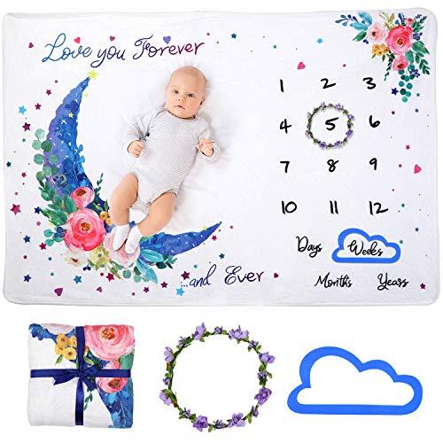 Hongyans Baby Meilenstein Decke Baby Monatsdecke Neugeborenen Fotografie Requisiten Weiche Flanell Fotohintergrund Decke für Baby Shower Jungen Mädchen Geschenke 120x100 cm