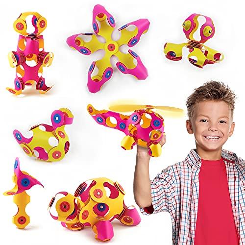 Clixo Crew Pädagogisches Spielzeug für Kinder ab 4 Jahren, Spielzeug Set mit magnetischen Bausteinen für Mädchen und Jungen, Montessori Kinderspielzeug 30-teilig, Rosa und Gelb