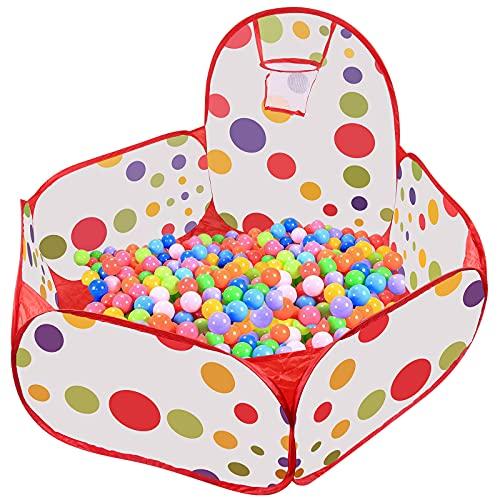 WolinTek Ball Pit Bällebad Bällepool mit Mini Basketballkorb, Φ1.2M Pop Up Sechseck Polka Dot Kinder Ball Sielen Pool Zelt mit Aufbewahrungsbeutel,für 3+ Monate Baby Kinder