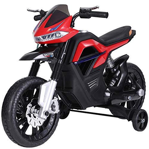 HOMCOM Kindermotorrad Kinder-Elektromotorrad Elektro-Motorrad für Kinder 3-6 Jahren Licht Musik MP3 Elektrofahrzeug mit Stützrädern maximal 3 km/h Metall + Kunststoff Rot 105 x 52,3 x 62,3 cm