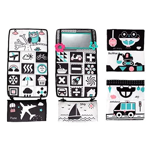 xianghaoshun Bauchspiegel, Babybodenspiegel, kontrastreiches Babyspielzeug, schwarz und weiß mit Beißringen, waschbar sicheres Bauchkriechspielzeug für Babys Kleinkinder Kinder