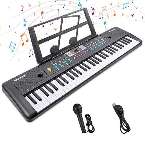 Digital Keyboard,Tastatur Klavier Digital Piano 61 Schlüssel Elektronische Klaviertastatur Einsteiger Tragbarer Elektronischer Tastatur mit Ständer & Mikrofon, Jungen und Mädchen Geschenk (Schwarz)