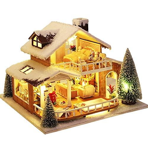 Cowslip DIY Puppenhaus Miniatur Kit, Mini Puppenhaus EIS Schnee Handmontierte Mini Haus Modell DIY Holzpuppenhaus Für Weihnachten Geburtstag