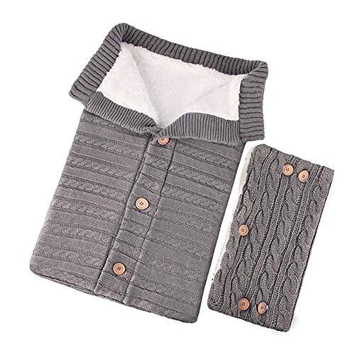 Chytaii Gestrickt Baby Schlafsack Wickeldecke für Kinderwagen Baby-Fußsack mit Fleece Innenseite, Warme Tasche Stricken Kuschelsack für Babys Neugeboren 0-12 Monat, mit Kinderwagen Hand muff