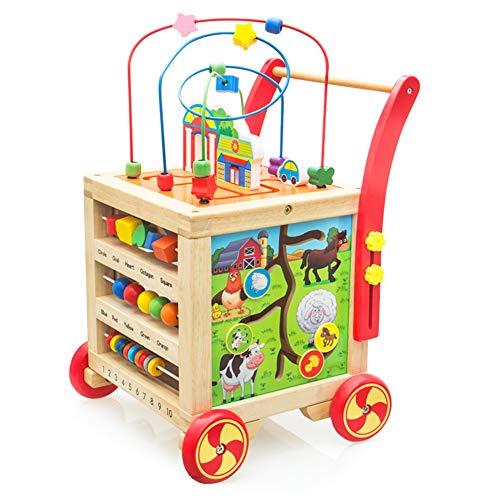 Lauflernwagen Holz Lauflernhilfe Laufwagen Holzspielzeug Höhenverstellbar Pädagogisches Babyspielzeug für Babys 1 2 3 Jahre Mädchen Junge