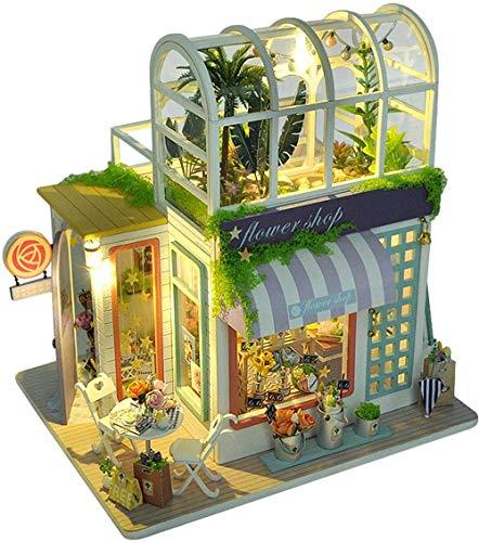 Leuchtendes Puppenhaus DIY Holzpuppenhaus mit Lichtern und Staubschutz Mini zusammengebautes Blumenhaus Eltern Kind Interaktion BPA Kostenlos und einfach für Kinder zusammenzubauen