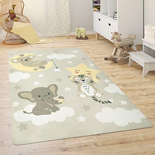 Paco Home Kinderteppich Teppich Kinderzimmer Spielmatte Babymatte Tiere Regenbogen Herz, Grösse:155x230 cm, Farbe:Beige