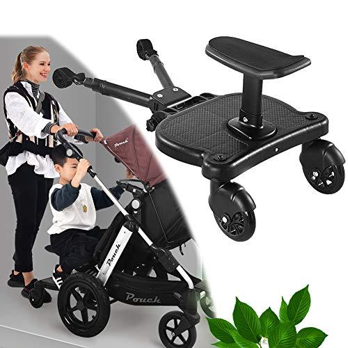 EnweNge Kiddy Board, Buggyboard mit Zusatzsitz, Kinderbuggy Trittbrett mit Sitz Trittbrett für Kinderwagen Buggyboard, Kinderwagen Buggy bis 25 kg
