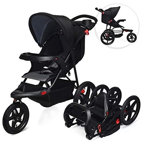 DREAMADE Dreirad Kinderwagen Klappbar, Buggy mit Liegefunktion, Sportwagen mit Sicherheitsgurt, Rückenlehne & Sonnenverdeck verstellbar, geeignet für Baby ab Geburt bis 36 Monaten (Schwarz)