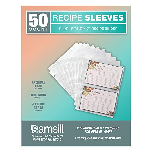 Samsill 50 Stück 10,2 x 15,2 cm Rezeptkartenschutz, transparent, passend für 20,3 x 22,9 cm Rezeptordner