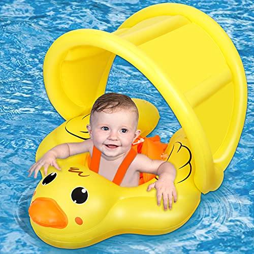 Jojoin Baby Schwimmring, Aufblasbare Baby Schwimmhilfe, Schwimmen Float Ring mit abnehmbarem Sonnendach und Nettes Tierentwurf, Safe Schwimmsitz für Kleinkinder ab 6 Monate bis 3 Jahre