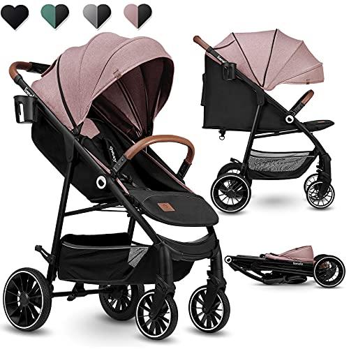 Lionelo Alexia Kinderwagen ab Geburt bis 15 kg verstellbare Rückenlehne von Sitz- bis Liegeposition XXL Verdeck mit Sonnenschutz PU-Räder Tasche Moskitonetz (Rosa)