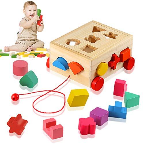 Ulikey Steckwürfel aus Holz, Würfel Puzzle Steckbox, Montessori Lernspielzeug, Sortier Stapel Steckspielzeug Holzsteckspiel für Baby Kleinkind, Geschenk zum Geburtstag Kindertag Weihnachten