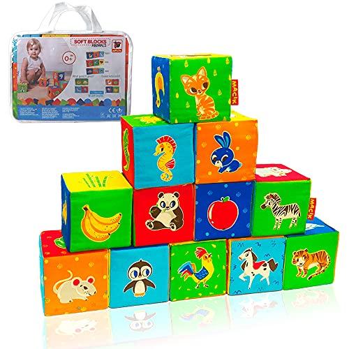 MACIK 12 spielwürfel Baby - Motorikspielzeug - Baby Spielzeug 1 Jahr - Montessori Spielzeug - Lernspielzeug 1 Jahr - Bausteine für Kinder ab 1 Jahr - Baby Geschenk - Stapelturm - Stapelbecher Baby