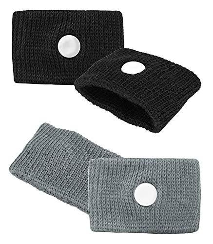 Voken Akupressur Armband, Armbänder Gegen Übelkeit Seekrankhei Reiseübelkeit für Kinder und Erwachsene (2 Paar - Schwarz + Grau)