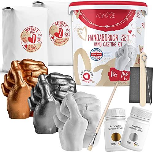 GipsME® 3D Handabdruck Set für Paare mit Farben [ Made in Germany ] Jahrestag Geschenk für Ihn und Sie, Partner Geschenke, personalisierte Geschenke für Frauen zur Hochzeit