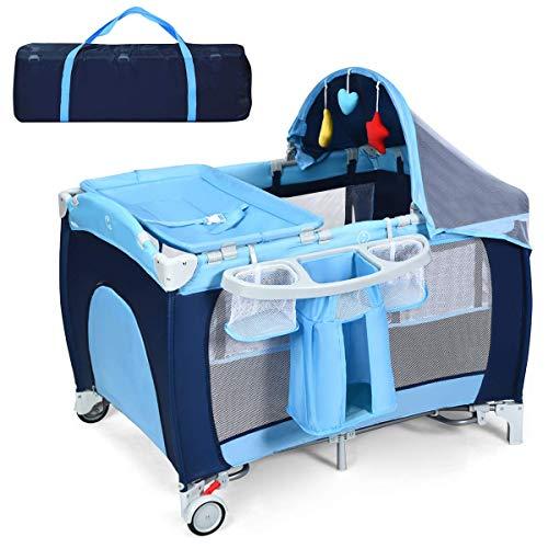 RELAX4LIFE 4 in 1 Babyreisebett, klappbares Kinderreisebett mit Tragetasche & Matratze & Spielbogen & Moskitonetz, Reisebett mit Musikfunktion für Baby 0-36 Monaten, belastbar bis 15 kg (Blau)