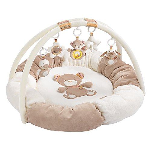 Fehn 160963 3-D-Activity-Nest Rainbow / Besonders weicher Spielbogen mit 5 abnehmbaren Spielzeugen für Babys Spiel & Spaß von Geburt an / Maße: Ø85cm