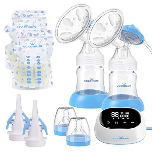 Elektrische Milchpumpe, Eccomum Doppel Milchpumpe verbessert, tragbar/lautlos/wiederaufladbar, Voll-Touchscreen-LED-Anzeige/starke Saugkraft/Speicher-Funktion/BPA-frei/schmerzfrei