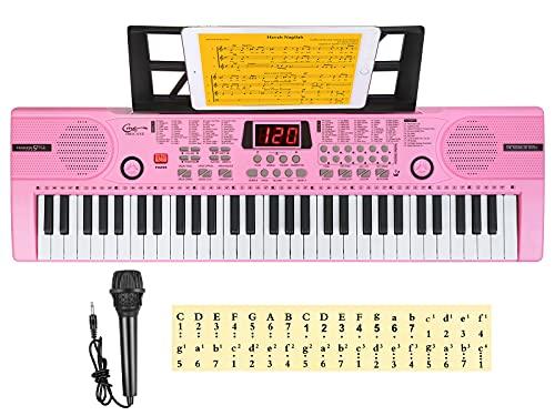 Hricane Kinder Midi Keyboard 61 Tasten, Tragbare e Piano digital-pianos, elektrisches klavier, Keyboard Piano mit Mikrofon Notenständer & Klaviernote, Geschenk für Jungen Mädchen, HEP-612R