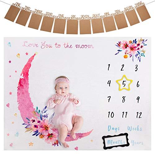 ANSUG Baby Decken aus Flanell, Baby Meilenstein Decke Monatsdecke Fotodecke für Baby Milestone Fotografie Requisiten Shoots Hintergrund Tuch mit Fotobanner und Rahmen für Neugeborene