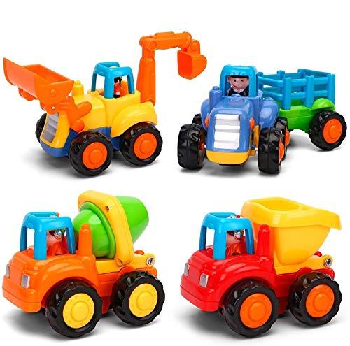 MOONTOY Baby Spielzeugauto Bagger Konstruktionsfahrzeuge Baufahrzeuge 4 in einem Set für Kinder ab 1 2 3 Jahre, Traktor, Bulldozer, Kipper & Zementmischer 2021 Aktualisiert