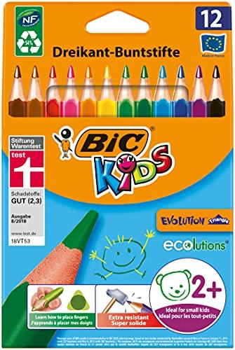 BIC Kids Buntstifte ECOlutions Evolution, Ergonomische Dreikant-Malstifte zum Malen in 12 Farben, im Karton Etui, ab 2 Jahre, 8297359, Bunte, 1 x 12 Stück