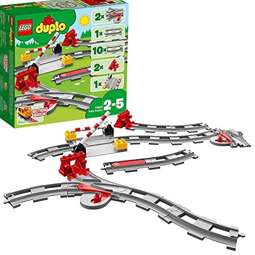 LEGO 10882 DUPLO Eisenbahn Schienen, Bauset mit einem roten Funktionsstein zum Stoppen des Zugs