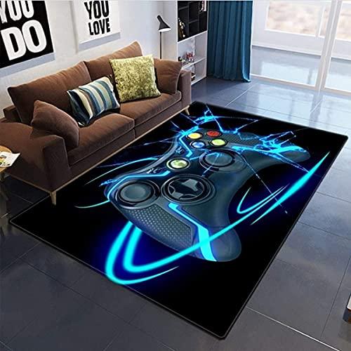 3D Anime Gamer Teppich Kinder Jungen Groß Kinderzimmer Gaming Teppich Schlafzimmer Dekoration Wohnzimmer Kurzflor Krabbelmatte Modern Weich Kinderteppiche Waschbarer Blau Schwarz (100x120 cm)