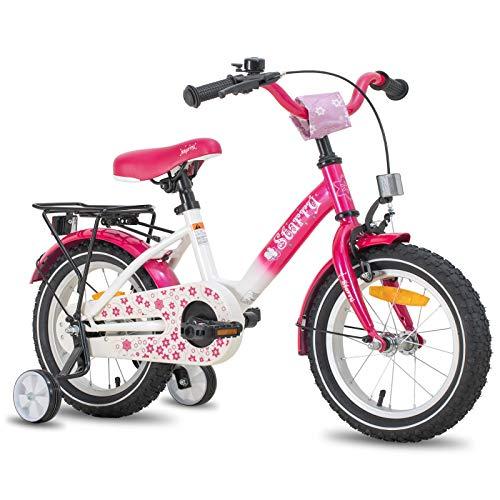 Hiland Kinderfahrrad Mädchen 3+ Jahren Space Shuttle Fahrrad 14 Zoll Stützräder Kinderfahrrad Rosa