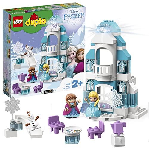 LEGO 10899 DUPLO Princess Frozen Elsas Eispalast, Bauset mit einem Leuchtstein, Prinzessin ELSA und Anna Mini Puppen sowie Schneemann Figur, Spielzeuge für Jungen und Mädchen ab 2 Jahren
