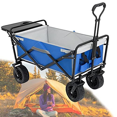 EFGS Gartenwagen Faltbar Zum Belastung 80 Kg, Outdoor Bollerwagen Mit 600d Verschleißfestes Oxford-gewebe,360° Drehbares Universalrad Für Sport, Shopping Und Strand