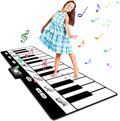 Musikmatte Kinder Klaviermatte, Groß Tanzmatte Musikmatte Kinderspielzeug Klaviermatte mit 8 Instrumentenklänge, Kinder Keyboard Spielteppich für Jungen Mädchen 1–5 Jahre(180*74cm)