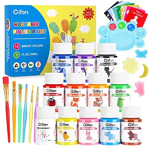 Gifort Fingerfarben, 12 x 30ML Fingermalfarben für Kinder Ungiftig Waschbare, Fingermalerei Kit mit Pinsel, Schwämmen, Karten und Palette für Baby DIY Kunst & Handwerk