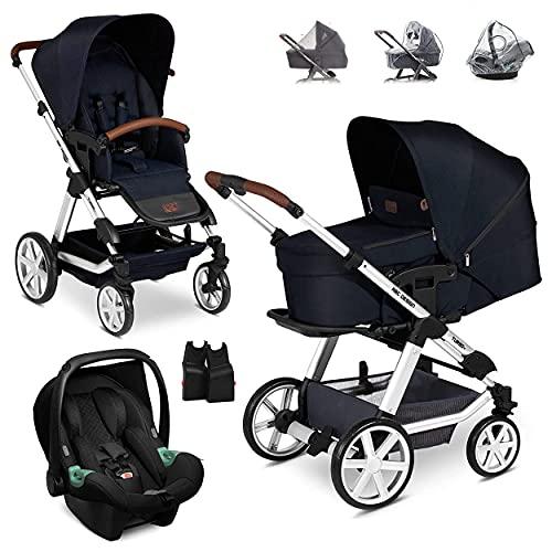 ABC Design Turbo 4 Kinderwagen Set 3in1 - Kombikinderwagen mit Babyschale, Sportwagen und XXL Zubehör - Autositz Tulip (ab Geburt / 0-13 kg) - Shadow Blau