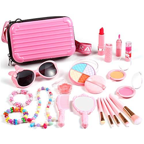 Auney Kinderschminke Set Mädchen 20 Stück Waschbar Schminkset sicher ungiftig echt kosmetisches mit Kosmetiktasch Kosmetik Spielzeug für Kinder
