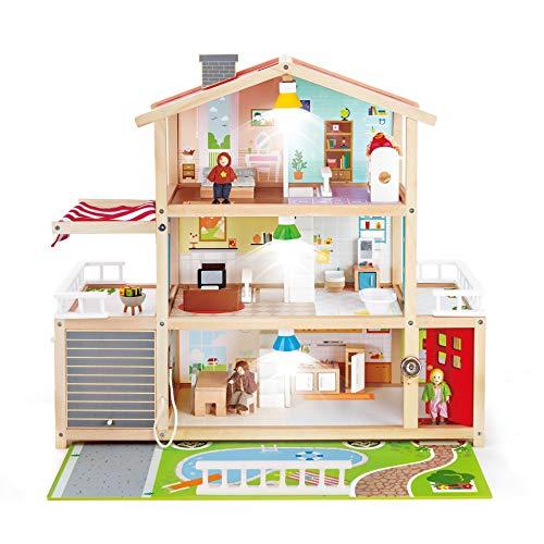 Hape Puppen-Villa von Hape  Preisgekröntes Puppenhaus mit 10 Zimmern, Puppen-Villa aus Holz mit Zubehör ab drei Jahren