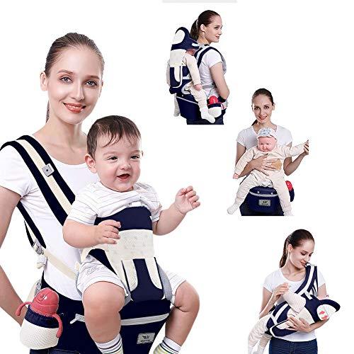 SaponinTree Babytrage Ergonomisch mit Hüftsitz, 100% Baumwolle, Multifunktional Babytrage, Befestigungsgürtel, Lätzchen, Schultergurt, Schlafen haub für Babys ab 4 Monate, Maximale Belastung 25kg