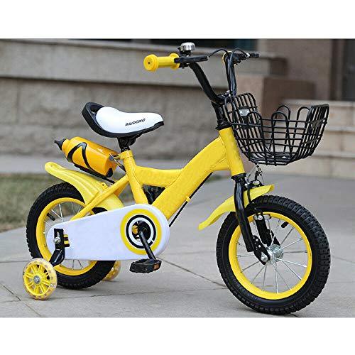 Kinderfahrräder, 12 Zoll Kinderfahrrad Jungenfahrrad Mädchenfahrrad Rad Bike mit Rücktritt Stützräder (Gelb)