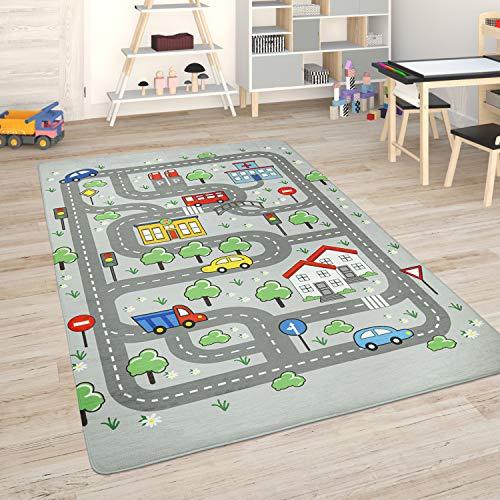 Paco Home Kinderteppich Teppich Kinderzimmer Spielmatte Straßenteppich Spielteppich, Grösse:80x150 cm, Farbe:Grau