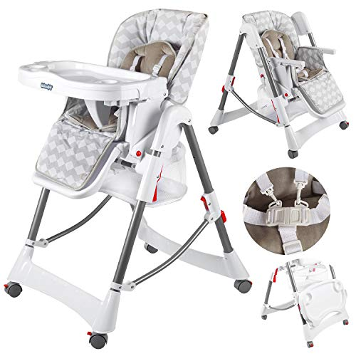 Kindersafety Hochstuhl Baby mit Liegefunktion - Baby Hochstuhl ab Geburt, Baby Essen Stuhl, Weiss-Graue, KP0004