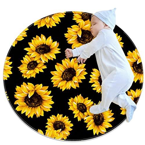 Kinderteppich, runder Teppich, Kinderspielmatte, Jungen, Mädchen, weicher Teppich, Sonnenblume