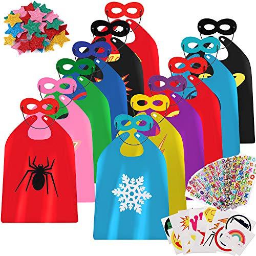 vamei Superhelden Kostüm Kinder Jungen Superhelden Umhang Cape Maske Halloween DIY Umhang Helden Rollenspiel Geburtstagsfeier Mitgesel Gastgeschenk Halloween karnevalskostüm Kinder Helden Party