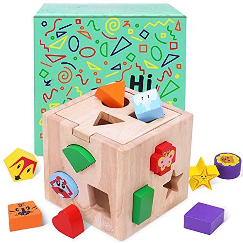 Japace Steckwürfel aus Holz Montessori Kinderspielzeug, Motorikwürfel Sortierspiel mit 12 Tier Bauklötze, Form und Farberkennung Steckbox Lernspielzeug Geschenk ab 1 2 3 Jahr Mädchen Junge