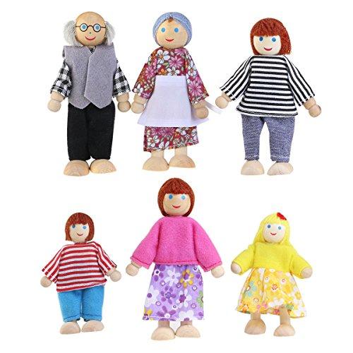 NUOLUX Familiepuppen Spielset Hölzern Figur Set Puppenfamilien Puppenhaus für Kinder Spiel Haus Geschenk Holz 6 Personen